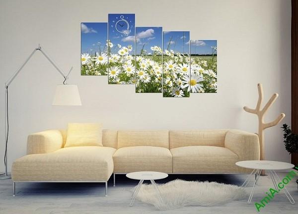 Tranh ghép bộ treo tường phòng khách hoa cúc họa mi-03