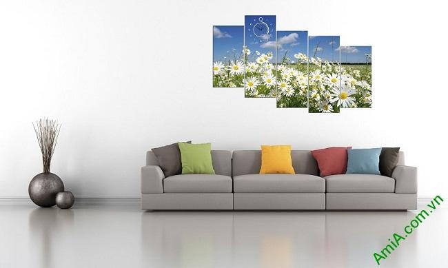 Tranh ghép bộ treo tường phòng khách hoa cúc họa mi-04