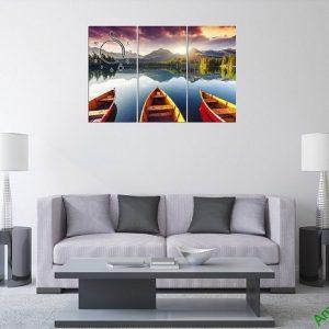 Tranh hiện đại treo tường phòng khách Bến Đò Amia 375-01