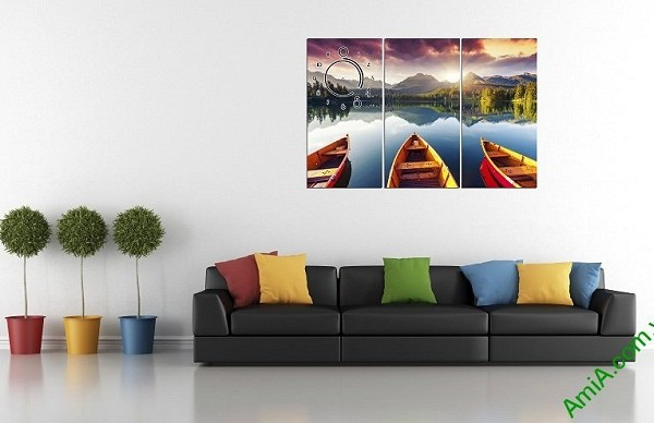 Tranh hiện đại treo tường phòng khách Bến Đò Amia 375-02