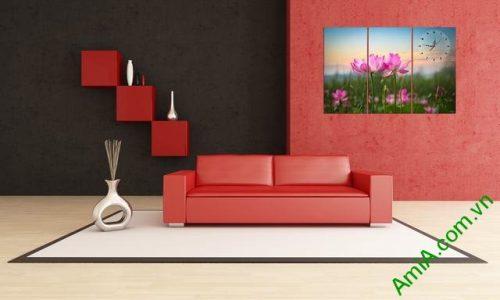 Tranh hiện đại treo tường hoa sen Amia 297-01