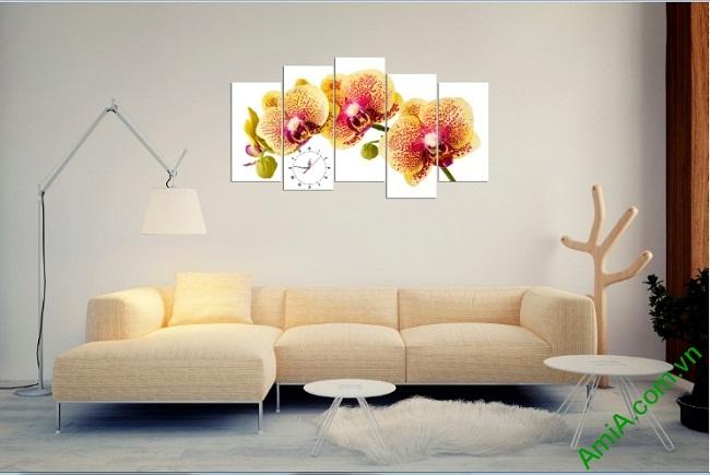 Tranh hoa lan treo tường phòng khách sang trọng Amia 389-01