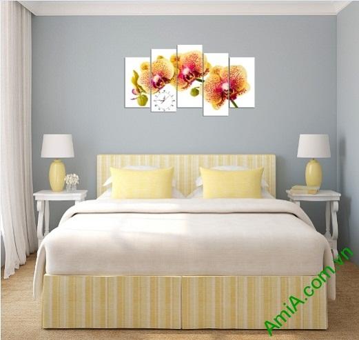 Tranh hoa lan treo tường phòng khách sang trọng Amia 389-03