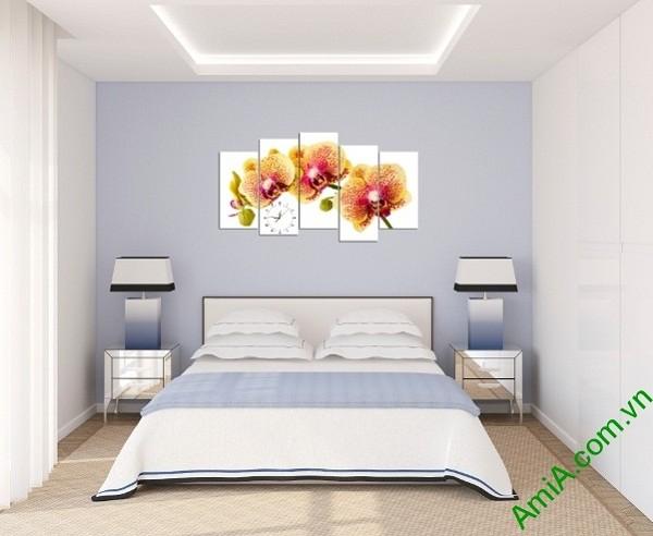 Tranh hoa lan treo tường phòng khách sang trọng Amia 389-04