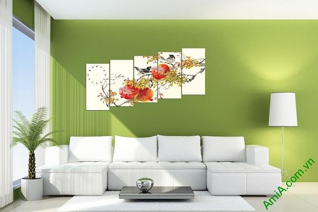 Tranh phong cảnh mùa xuân treo tường phòng khách-02