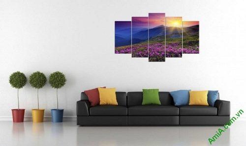Tranh phong cảnh treo tường phòng khách đồi hoa nắng-01