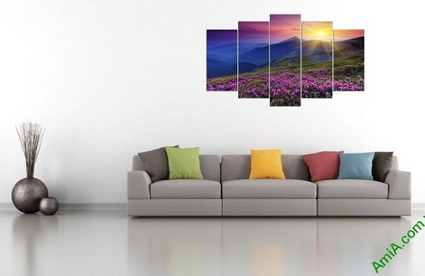 Tranh phong cảnh treo tường phòng khách đồi hoa nắng