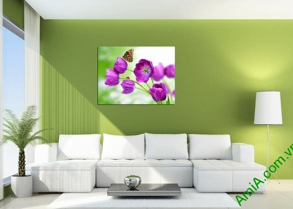 Tranh treo tường hiện đại hoa bướm một tấm amia 345-01