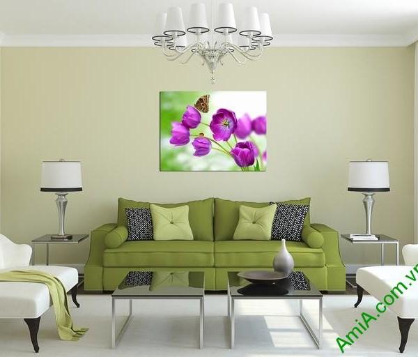 Tranh treo tường hiện đại hoa bướm một tấm amia 345-02