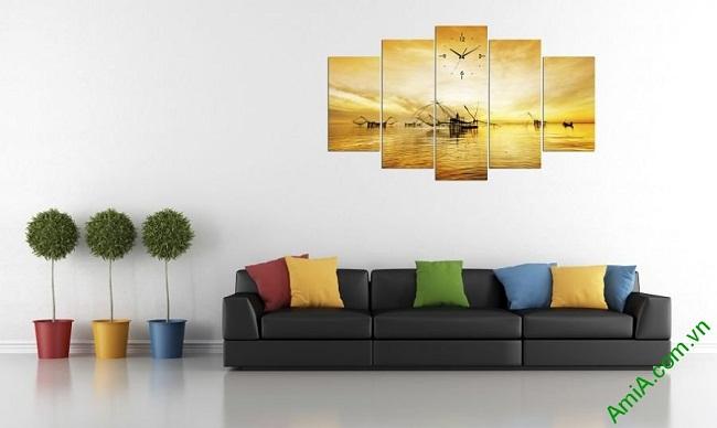 Tranh treo tường phòng khách bình minh trên biển Amia 382-01