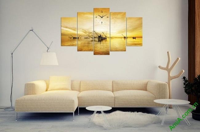 Tranh treo tường phòng khách bình minh trên biển Amia 382-03