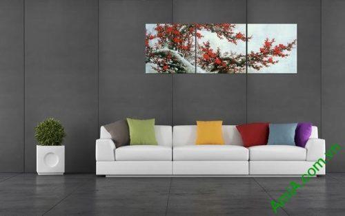 Tranh treo tường phòng khách Cành Đào Tết bộ 3 tấm-02