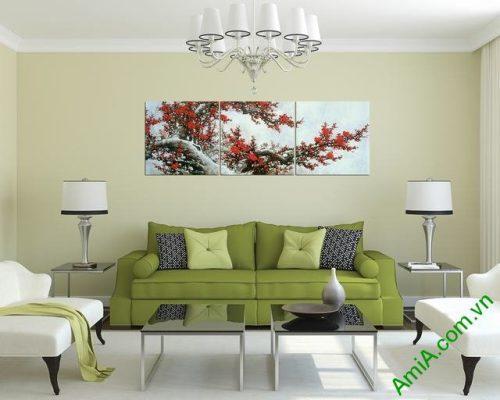 Tranh treo tường phòng khách Cành Đào Tết bộ 3 tấm-03