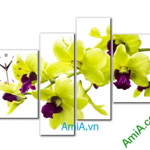 Tranh treo tường phòng khách hiện đại phong lan vàng Amia 377