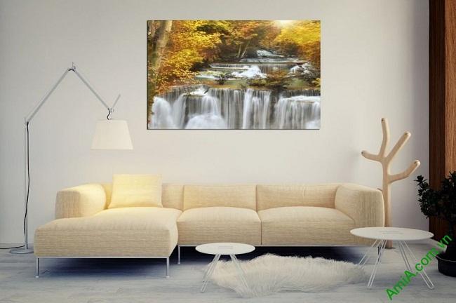 Tranh treo tường phòng khách một tấm thác nước amia 383-01