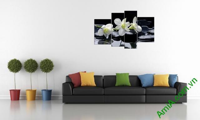 Tranh treo tường phòng khách phong lan trắng Amia 366-01