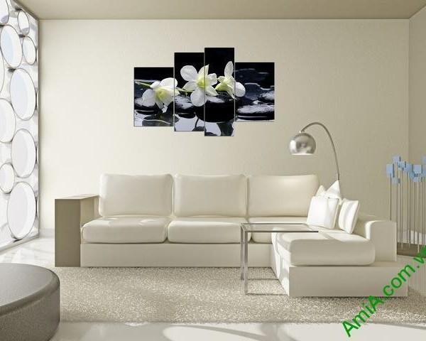Tranh treo tường phòng khách phong lan trắng Amia 366-02