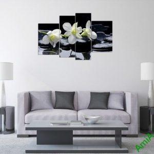 Tranh treo tường phòng khách phong lan trắng Amia 366-03