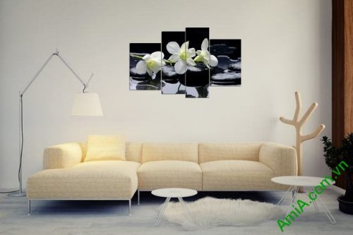 Tranh treo tường phòng khách phong lan trắng Amia 366-04