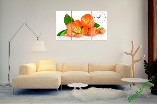 Tranh treo tường phòng khách, phòng ngủ hoa trà amia 387-01