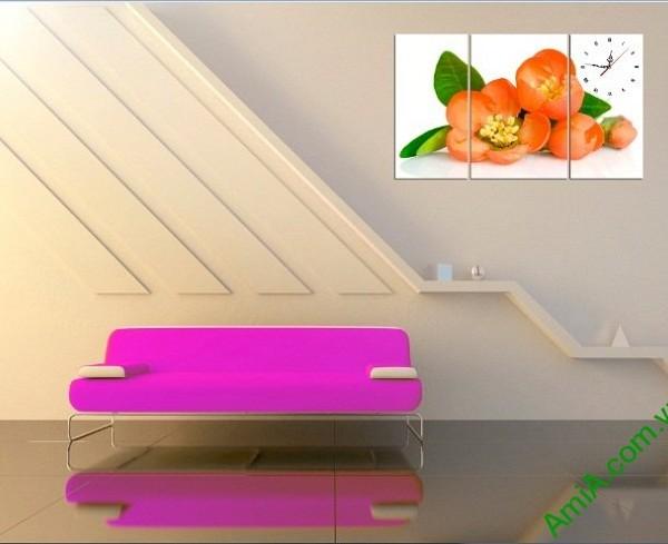 Tranh treo tường phòng khách, phòng ngủ hoa trà amia 387-02