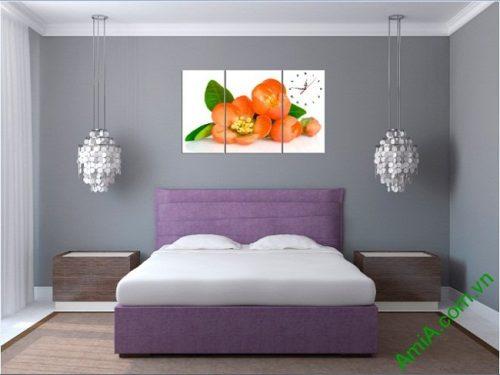 Tranh treo tường phòng khách, phòng ngủ hoa trà amia 387-04