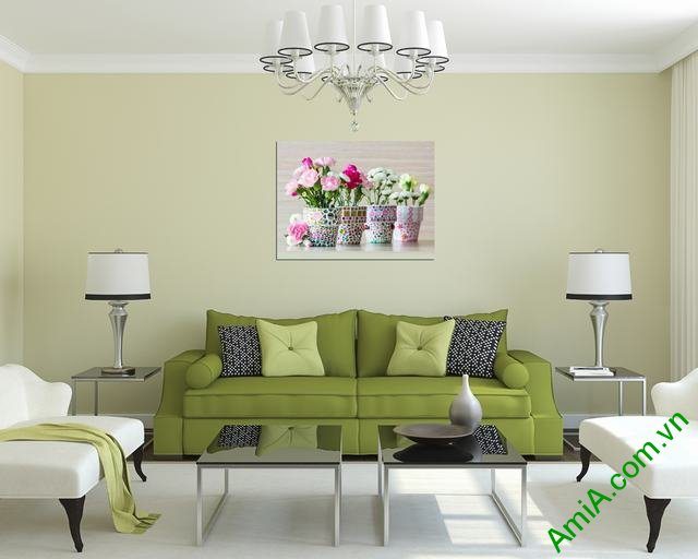 Tranh treo tường phòng khách tứ bình 1 tấm amia 353-03