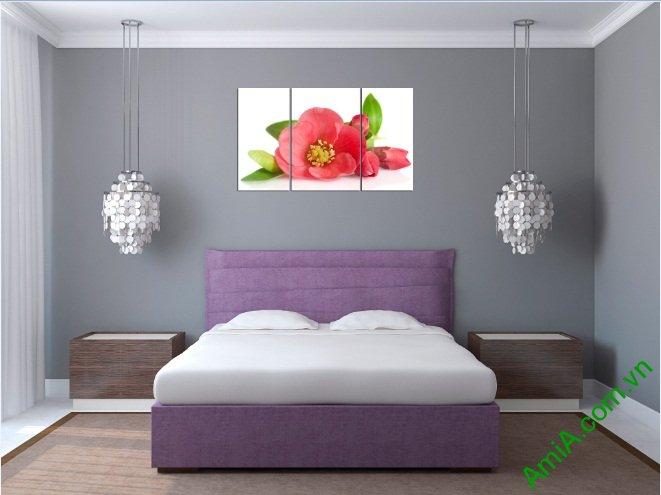 Tranh treo tường phòng ngủ hiện đại hoa trà Amia 388-02