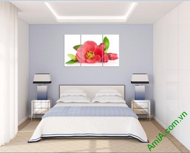 Tranh treo tường phòng ngủ hiện đại hoa trà Amia 388-03