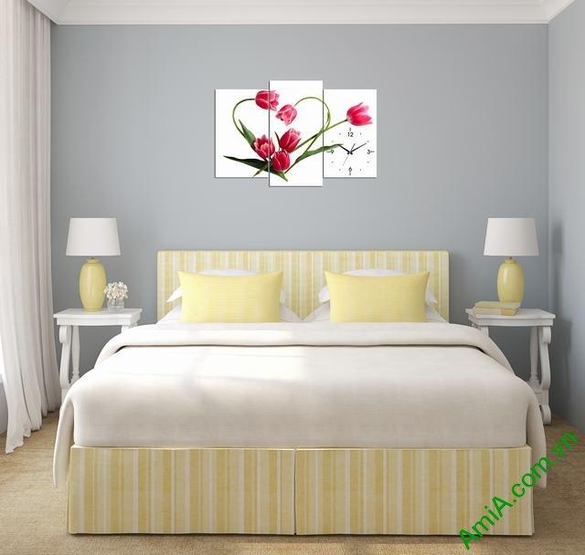 Tranh treo tường phòng ngủ hoa tulip trái tim amia 354-01