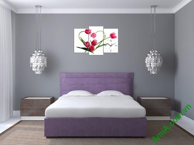 Tranh treo tường phòng ngủ hoa tulip hình trái tim amia 354-02