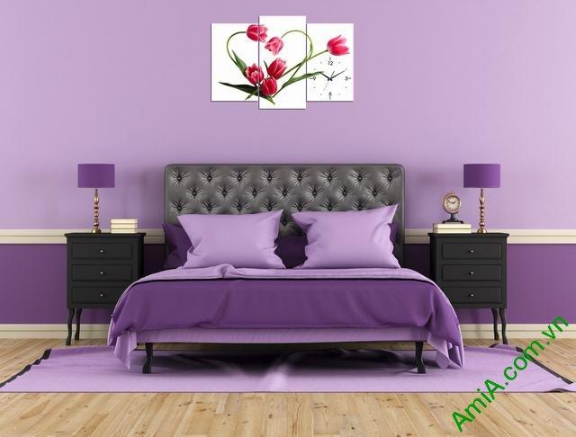 Tranh treo tường phòng ngủ hoa tulip trái tim amia 354-03