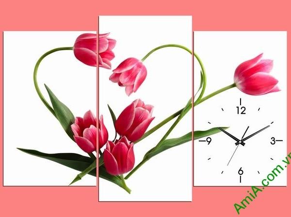 Tranh treo tường phòng ngủ hoa tulip hình trái tim amia 354