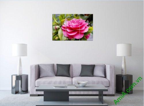 Tranh treo tường trang trí phòng khách hoa trà amia 390-01