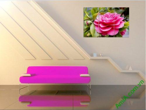 Tranh treo tường trang trí phòng khách hoa trà amia 390-02