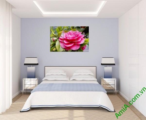 Tranh treo tường trang trí phòng khách hoa trà amia 390-03