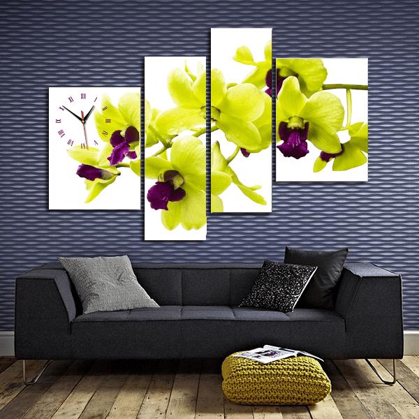 Hình ảnh tranh hoa lan vàng nở phú quý AmiA 180