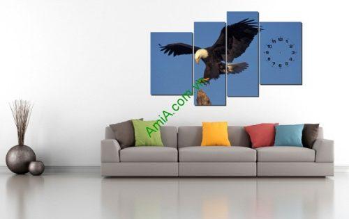 Tranh ghép bộ treo tường phòng khách Đại bàng Amia 203-01