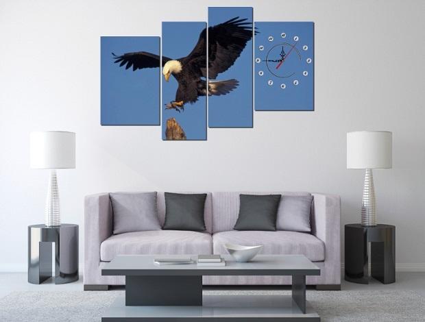 Tranh ghép bộ treo tường phòng khách Đại bàng Amia 203-02
