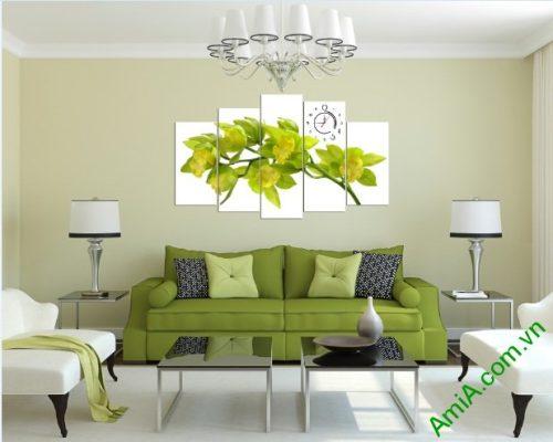 Tranh ghép treo tường phòng khách hoa lan amia 392-01