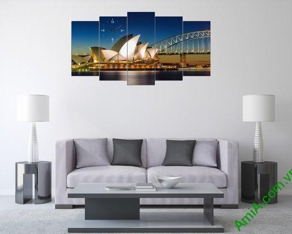 Tranh hiện đại treo tường cầu cảng Sydney bộ 5 tấm amia 356-01