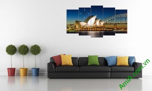 Tranh hiện đại treo tường cầu cảng Sydney bộ 5 tấm amia 356-02