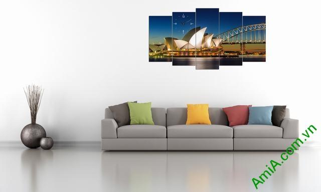Tranh hiện đại treo tường cầu cảng Sydney bộ 5 tấm amia 356-03