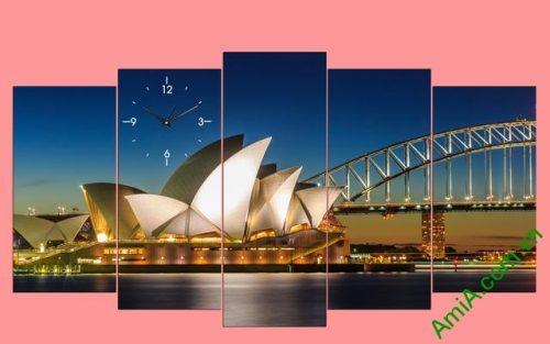 Tranh hiện đại treo tường cầu cảng Sydney bộ 5 tấm