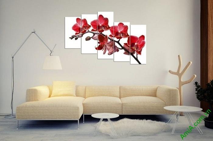 Tranh hoa Lan đỏ treo tường phòng khách đẹp Amia 369-02