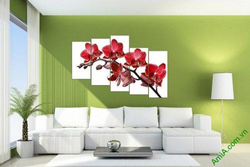Tranh hoa Lan đỏ treo tường phòng khách đẹp Amia 369-03