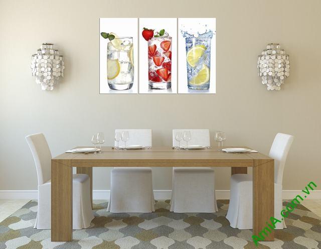 Tranh treo tường phòng ăn đẹp ly nước Amia 315-01