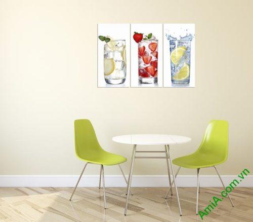 Tranh treo tường phòng ăn đẹp ly nước Amia 315-02