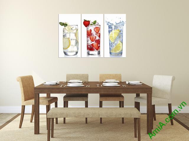 Tranh treo tường phòng ăn đẹp ly nước Amia 315
