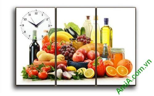 Tranh treo tường phòng ăn hiện đại hoa quả amia 386
